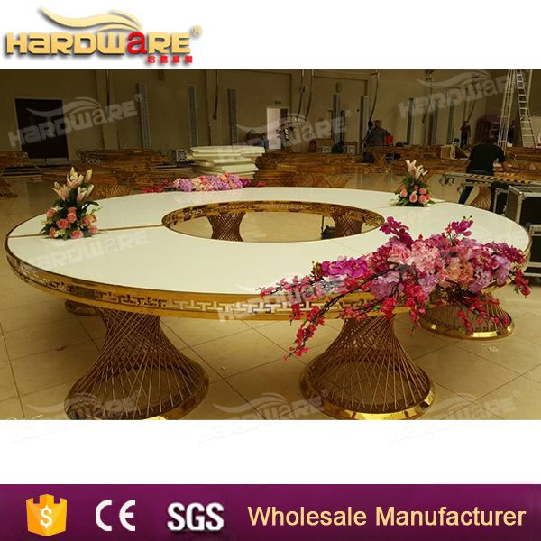 half circle gold stainless steel banquet wedding table moon dining table
