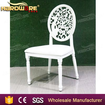 white paiting iron metal frame royal banquet chair